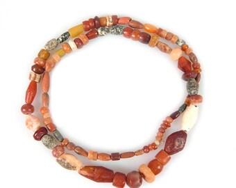 Ancient Carnelian Jasper Quartz Agate & Granite Beads Strand, Mali