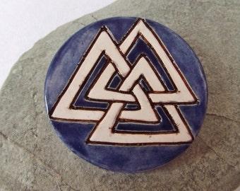 Ceramic Clay Pottery Valknut Brooch Pin, Large Pin, Shawl Pin, Scarf Pin, Cloak Pin, Asatru Jewellery, Heathen, Norse Pin, Viking, Odin