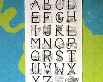 Edinburgh Alphabet (Monochrome) - 100% cotton teatowel