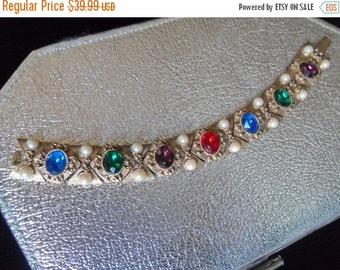 NOW ON SALE Vintage Rhinestone & Faux Pearl Bracelet 1960's Retro Mad Men Mod Collectible Jewelry