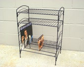 Mid Century Record Player Table Stand Rack Holder Black Metal Wire - Stereo SHELF - American Retro - Fancy arched sides