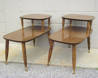 Pair Mid Century 2 Tier Step Back End Tables   Retro Atomic Side Tables Peg  Legs