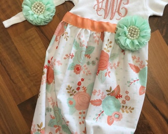 Baby girl take-me-home gown and hat set in peach coral and mint gold floral fabric