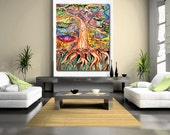 LARGE abstract tree art, tree decor, wall art, modern art, contemporary, mixed media, wax encaustic, tree of life,branches, oil paint, roots