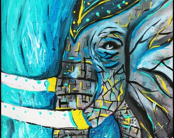 Blue Water Elephant Abstract, Original painting,modern art,india,elephant art, waterfall, elephant in water,acrylic, wall art, home decor