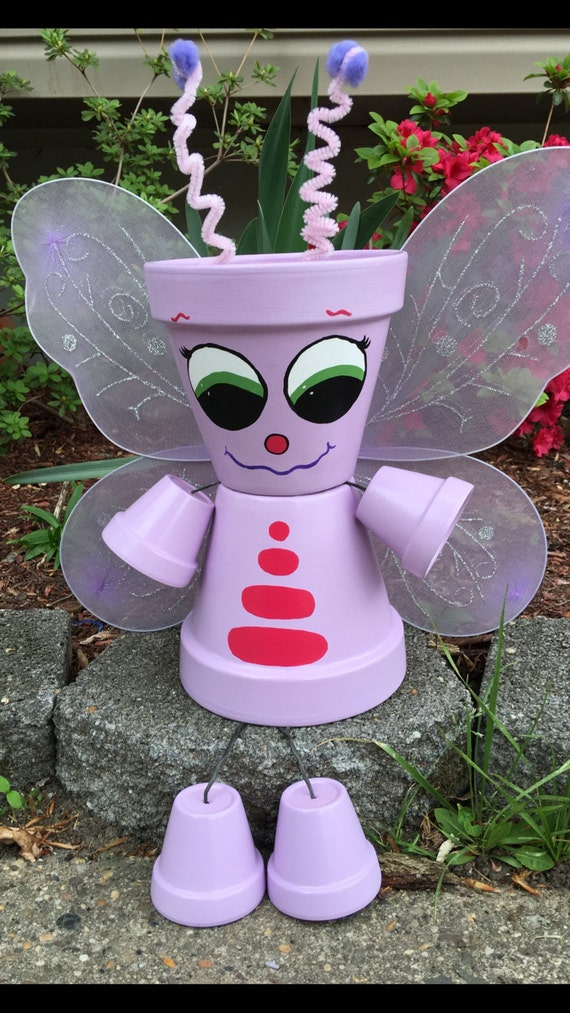 Butterfly planter pot people planters yard decor garden for Personnage decoration jardin