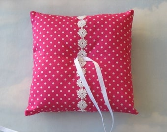 Wedding ring cushion. Polka dot wedding ring pillow