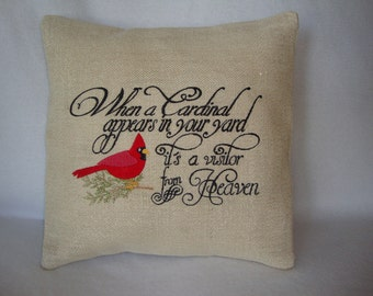 Spiritual Red Bird Cardinal Heaven Saying Envelope Pillow Cover 14 By 14 Size Machine Embroidered