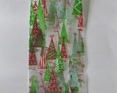 "10 Printed Rockin Around The CHRISTMAS TREE CELLO Bags (4"" x 2-1/2"" x 9-1/2"")"