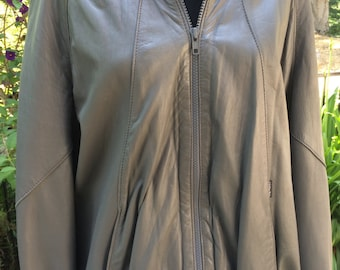 Men's Grey Leather Jacket Members Only Style Made in Spain