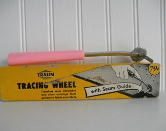 Vintage Traum Tracing Wheel with Seam Guide 40's Helpful Sewing Supply Supplies Tool Handy