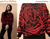 15% OFF 1DAY SALE 80s Vtg TiGer Face Santana Knit Sweater / Italian Pull Over Jumper / Stripe Kitty Cat Print Red + Black Bold Comfy Top / S