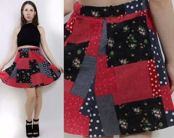 Patchwork Floral Polkadot Quilted 90s Fabric Grunge Skirt Summer