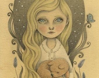Nursery Wall Art, Children's Illustration Art Print, Sweet Girl and Puppy Pencil Drawing for Girls Room, Nursery Decor Art Print