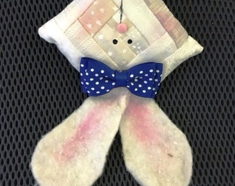 Log cabin BUNNY RABBIT White with blue bow Quilted Ornament