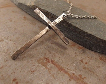 Delicate Christian Cross Light Textured  White Bronze Necklace Jewelry For Men or Women