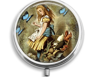 Alice in Wonderland Pill Box Case Alice with Butterflies and Animals Trinket Box Vitamin Holder Medicine Box  Mint Tin Gifts For Her