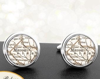 Map Cufflinks Macon GA Handmade Cuff Links USA City State Maps Georgia Groomsmen Wedding Party Fathers Dads Men