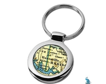 Map Keychain Huntsville Alabama Key Ring Fob