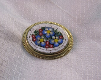 Vintage Italian Glass Mosaic Flower Brooch
