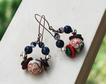 Gypsy Bohemian Rustic Zen Earrings Floral Wood Sodalite Tibet Agate Beads