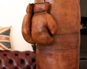 Boxing punching bag / punch sack / punch bag / heavy bag  - Vintage leather handmade in England