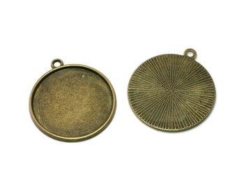10pcs - 25mm Cabochon Setting - Antique Bronze Pendant