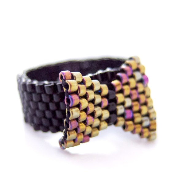Gold Bow Ring, Bow Beaded Ring, Black Ring, Gold Ring, Black and Gold, Preppy