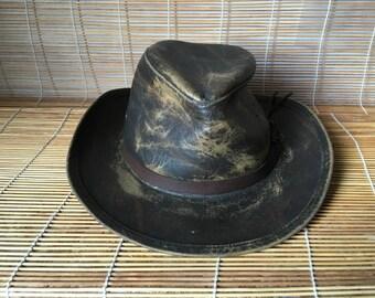 Vintage Brown Leather Cowboy Hat Size Euro 59 US 7 3/8