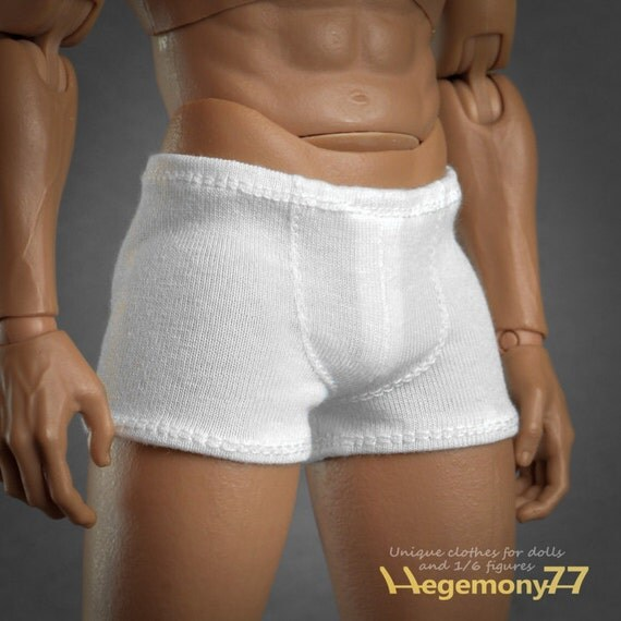 1/6th scale XXL white boxer briefs men's underwear for: Hot Toys TTM 20 size bigger action figures and male fashion dolls