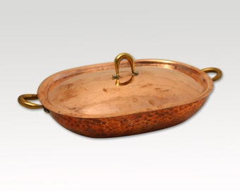 Vintage Copper Serving Tray - hand hammered - Meersburg - Red Copper Rustic Pot