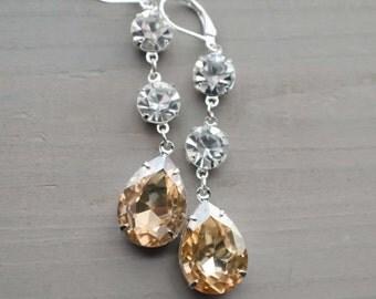 Champagne Crystal Earrings, Wedding Jewelry, Colorado Topaz, Golden Shadow, Long Bridal Earrings, CTE-449