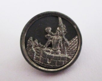 Six Antique/Vintage Trumpeter of Cracow Metal Picture Buttons 11/16 in.