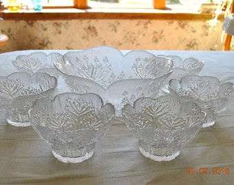 Dansk Salad Bowl and 6 Small Bowls in The Floriform Pattern