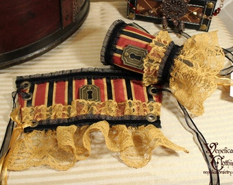 Steampunk Keyhole Single Wrist Cuff -- Ready to Ship, Size S -- Black, Red, and Gold with Antique Brass
