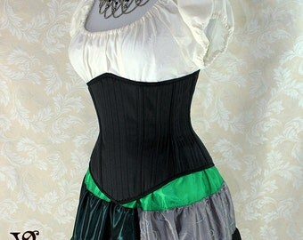 "Steampunk Black Pinstripe Steel Boned Waspie Corset w/Solid Front -- Corset Size 22, Fits Waist 25""-27"" -- Ready to Ship"