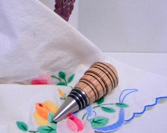Oak  wood wine stopper deco style hand turned OOAK