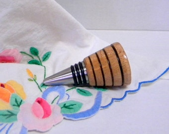 Maple wood wine stopper deco style hand turned OOAK