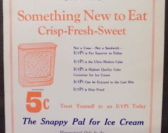 Icy Pi ice cream treat sign vintage 1920s ad with graphics