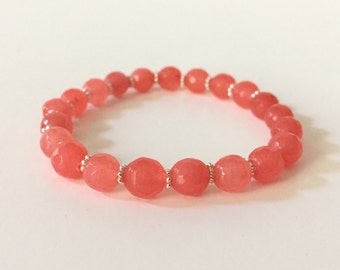 Coral Jade Stretch Bracelet