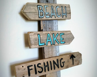 Set of 3 Outdoor Signs - Hand Painted on Reclaimed Wood - Lake House Beach House Outdoor Decor