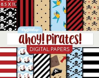 Pirates Scrapbook Digital Paper- 8.5 x 11 paper size- pirate digital scrapbook paper set, commercial use ok.