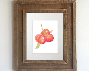 Botanical Print: Watercolor Tomatoes - Tomato Painting, Kitchen Decor, Home Decor, Kitchen Artwork, Tomato Artwork, Vegetable Painting