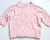 Vintage 90s Pastel Pink Fuzzy Sweater Crop Top