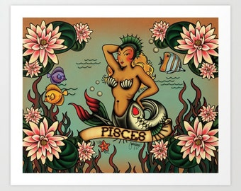 Horoscope Tattoo Pisces Print