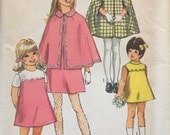 "Simplicity 8719 Girls' Cape in Two Lengths and Dress Pattern, UNCUT, Size 12, Breast 30"", Lined Cape, Easter Dress, Vintage, 1970"