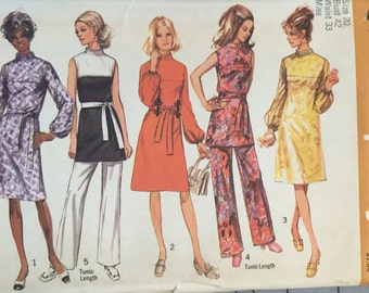 "Simplicity 9125, Size 20, Misses' Dress or Tunic and Pants Pattern, UNCUT, Bust 42"", Waist 33"", Retro, Vintage 1970, High Fashion"