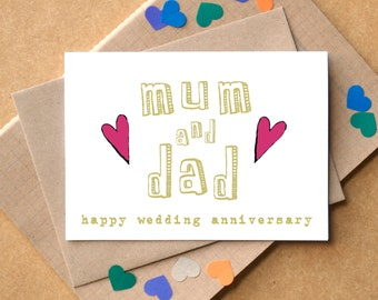 Wedding Anniversary Gift For Parents Online India : Anniversary card for parents Etsy