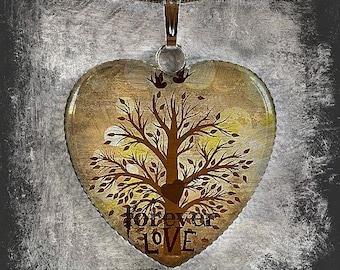 Forever Love Heart Glass Pendant