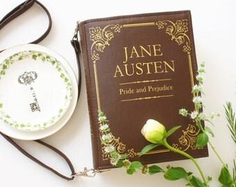 Jane Austen Faux Leather Book Bag Pride and Prejudice Book Purse